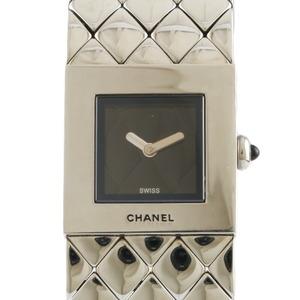 CHANEL Watch Matrasse Silver Black Ladies Stainless Steel