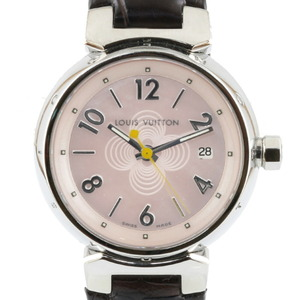LOUIS VUITTON Louis Vuitton Watch Monogram Flower Pink Shell Tambour Q1216 Ladies Stainless Steel Leather