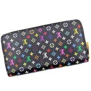 Louis Vuitton Monogram Multicolor Zippy Wallet Round Zipper M61876 Black