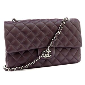Chanel Matrasse Coco Mark Double Flap Chain Shoulder Bag Ladies Turn Lock Lambskin 15s