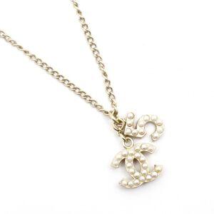 Chanel 05P No.5 Coco Mark Pearl Pendant Chain Necklace Ladies Gold