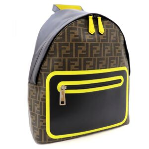 Fendi 19AW FF Zucca pattern leather backpack rucksack men's PVC yellow line
