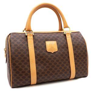 Celine Vintage Macadam Boston Bag Handbag Women's PVC Leather
