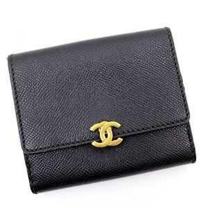 Chanel Vintage 98A Coco Mark Caviar Skin Bi-Fold Wallet Lady's 5s