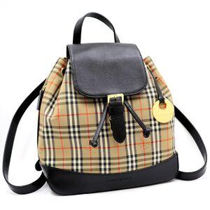 Burberry Vintage Plaid Backpack Logo Charm Beige PVC Ladies Old