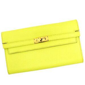 Hermes Kelly Wallet Vaux Epson Lime Bi-Fold Gold Hardware