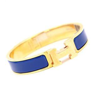 Hermes Bangle Click H Crack PM Blue Cobalt Gold Ladies Bracelet
