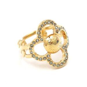 Louis Vuitton Monogram Bergflower Power Ring Women's Gold L Rhinestone M66088
