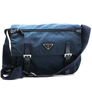 Prada Nylon Shoulder Bag Triangle Plate Leather Navy