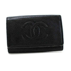 Chanel Caviar Skin 6 Key Case Black A13502 Coco Mark