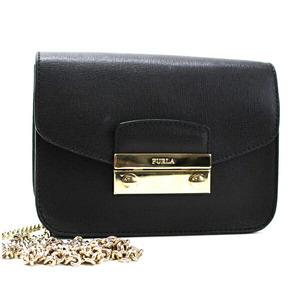 Furla Chain Bag Metropolis Mini Crossbody Shoulder Pochette Embossed Leather Gold Hardware Black