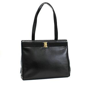 Salvatore Ferragamo Vala Shoulder Bag Tote Leather Gold Hardware Black DD21 2530