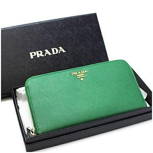 Prada Saffiano Round Zipper Wallet IML506 Green Leather