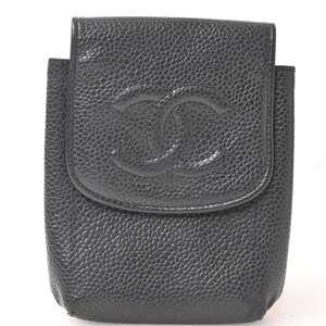 Chanel CHANEL Caviar Skin Coco Stitch Cigarette Case Black