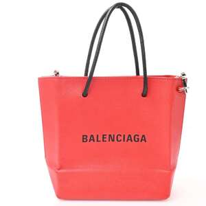 Balenciaga Leather Shopping Tote XXS 2WAY Shoulder Bag Red