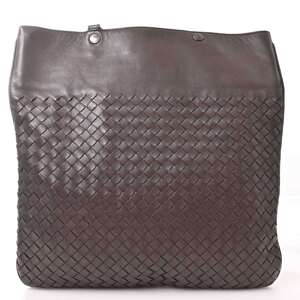 Bottega Veneta Leather Intrecciato Shoulder Bag Brown