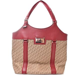 Christian Dior Trotter Street Chic Canvas Shoulder Bag Red Beige