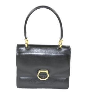 CELINE Celine W Flap Handbag Black Calf Box