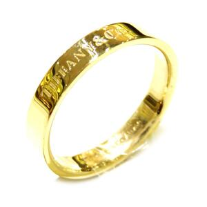 TIFFANY & CO Tiffany Flat Band Ring Women's Gold K18YG 750 Yellow No. 18.5