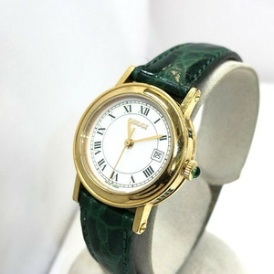 GUCCI Gucci Old Watch Quartz 7200L Green Gold White Dial Date Leather Belt Ladies