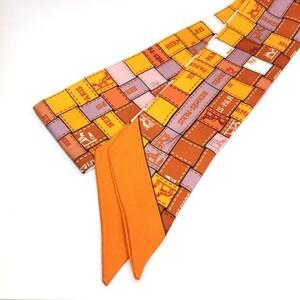 エルメス(Hermes) HERMES エルメス スカーフ ツイリー オレンジ エルメスカラー マルチカラー リボン ロゴ 馬車柄  アクセサリー バッグチャーム レディース