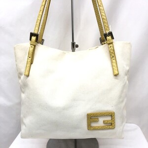 FENDI Handbag 26633 Semi Shoulder Bag Canvas Leather Off White Yellow One Ladies