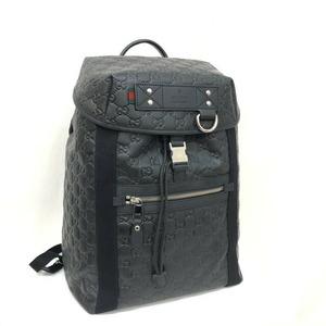 GUCCI Gucci Rucksack Shima Rubber Coating 368561 Black GG Pattern Backpack Daypack Women's Men's