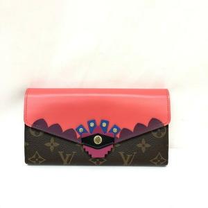 ルイ・ヴィトン(Louis Vuitton) LOUIS VUITTON ルイヴィトン 二つ折り長財布 M61348 ポルトフォイユサラ モノグラム トーテム ブラウン ピンク フラミンゴ レディース