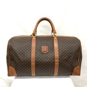 CELINE Celine Boston bag Macadam pattern brown travel key name tag ladies men
