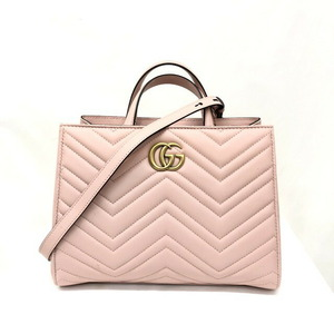GUCCI Gucci Handbag GG Marmont 448054 Pink Leather 2WAY Shoulder Bag Quilting Stitch Ladies