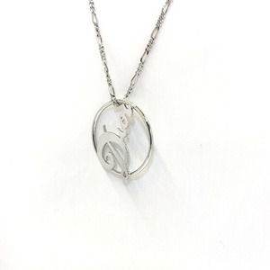Christian Dior Necklace Silver Logo Cursive Circle Motif Accessories Ladies