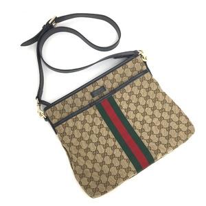 Gucci Shoulder Bag Diagonal Webbing Line 388926 GG Canvas Leather Beige Ladies
