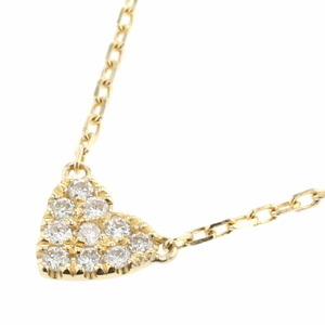 AHKAH Aker Necklace Heart Pave K18 Yellow Gold Diamond 0.06ct Ladies