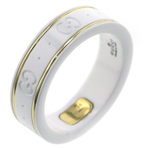 Gucci Ring Icon White Ceramic K18 Yellow Gold No. 18 Men