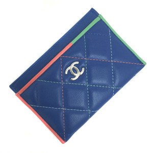 Chanel Pass Case Matrasse Lambskin Blue Multicolor Ladies