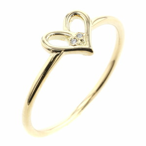 AHKAH Aker Ring / Heart 2P K18 Yellow Gold Diamond No. 10.5 Ladies