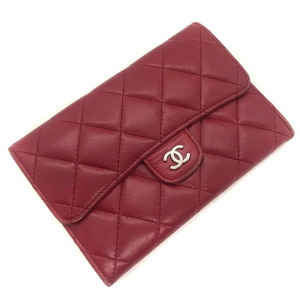 Chanel Bi-Fold Wallet Matrasse Coco Mark Leather Red Ladies