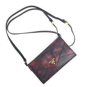 Prada Purse Camouflage Shoulder Wallet Saffiano Leather Bordeaux Ladies
