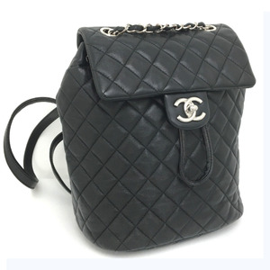 Chanel Backpack Daypack Matrasse Chain Leather Black Ladies