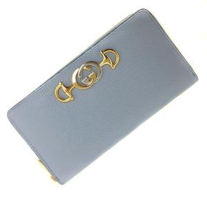 Gucci Purse Zumi Zip Around 570661 Leather Blue Gold Hardware Ladies