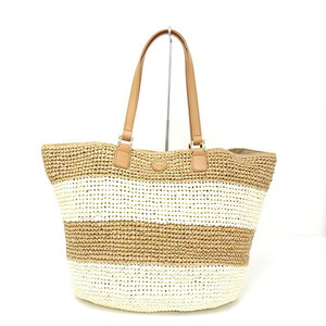 Tory Burch TORY BURCH Straw Tote Bag DESCRIPTION CHUNKY STRIPE TOTE Leather Mid Camel Ivory 51139989