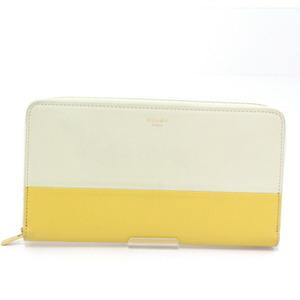Celine CELINE Large Zipped Wallet MULTIFUNCTION Round Zipper Lambskin Cream 105013AFF.01CS Bicolor