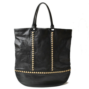 Bottega Veneta Tote Bag Large Intrecciato Leather Black Gold