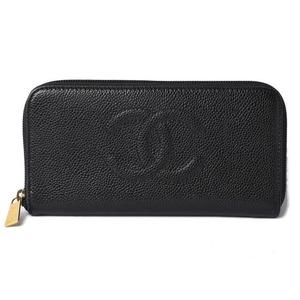 Chanel Wallet CHANEL Long Round Zipper Coco Mark Caviar Skin Black