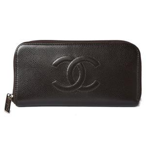 Chanel Wallet CHANEL Long Round Zipper Coco Mark Caviar Skin Dark Brown