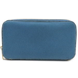 valextra Valextra round zipper wallet leather cerulean blue gold metal fittings V9L06