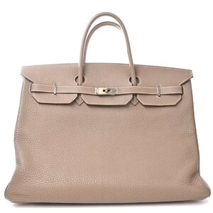 Hermes HERMES Taurillon Clemence Birkin 40 Etope Handbag Gray