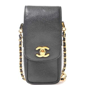 Chanel CHANEL Caviar Skin Coco Mark Chain Shoulder Cell Phone Case Bag Black