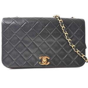 Chanel CHANEL Lambskin Matrasse Coco Mark Full Flap Chain Shoulder Bag Black