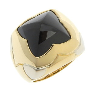 BVLGARI Bvlgari K18 Yellow Gold Pyramid Ring Onyx